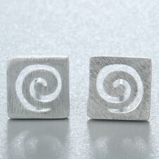 Geometrical Hollow Square 925 Silver Stud Earrings Line G Letter Studs Jewelry