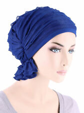 Abbey Cap ® Chemo Hat Cancer Beanie Scarf Ruffle Royal Blue