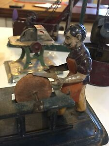 Lot Of 8 Vintage Antique Tin Toy Steam Engine Display Accessory