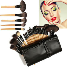 24 PC Wood Full Set Of Makeup Brush Set Pouch Bag Black Exquisite Makeup Tool
