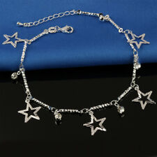 Link Chain Foot Ankle Bracelet #Ab25 Womens 925 Sterling Silver Cz Crystal Star