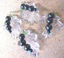 "4 VTG NOS 2 3/8"" ART DECO Crystal Prism Chandelier Lamp CZECH Leaf Bead GRAPE"