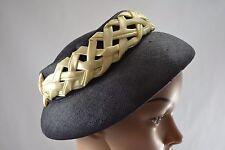 VINTAGE 1950s MARTEN navy blue straw bucket style hat ivory satin decoration