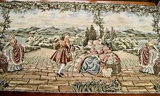 VINTAGE WOVEN TAPESTRY PANEL Continental Scene & Figures in 18th Century Dress