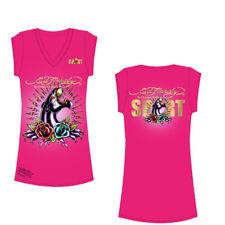 Ed Hardy V-Neck Womens T-Shirt - Hot Pink - Large