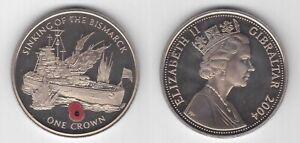 GIBRALTAR 1 CROWN UNC COIN 2004 YEAR KM$1094 POPPY SINKING BISMARCK SHIP