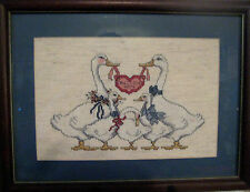 """Cross Stitch Completed & Professionally Framed Geese Bless Our Home 14"""" X 11"""""""
