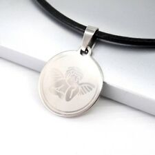 Silver Chrome Baby Angel Wings Cupid Charm Pendant Black Leather Choker Necklace
