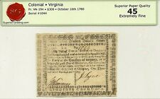 1780 STATE OF VIRGINIA $300 AMERICAN REVOLUTION CURRENCY - BOLD EXTREMELY FINE