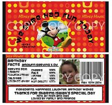 Disney Mickey Mouse Clubhouse Candy Bar Wrappers Birthday Personalized 6pc