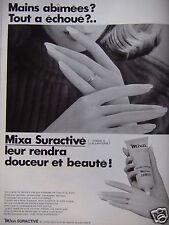 PUBLICITÉ 1968 CRÈME MIXA SURACTIVITÉ POUR LES MAINS - ADVERTISING