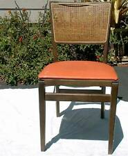 Stakmore Vintage Portable Wood Folding Chair Vinyl & Caning 1950s Dining Picnic