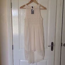 LADIES 'H & M' BRAND NEW IVORY LONG TUNIC TOP. SIZE 8. LABEL ATTACHED.
