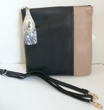 Zenith Crossbody Bag Two-Tone Beige / Black Leather Removable Strap NWT