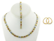 Hugs & Kisses Necklace Bracelet Oval Earring Set Stampato Stainless Steel 3 Tone