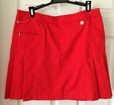 Greg Norman Golf Skort Sz 8 Pleated Red Side Zip Pockets Shorts Textured