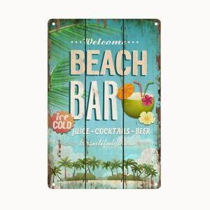 Bild Retro Blechschild Beach Bar 30 x 20 cm Wandbild Bilder 2310