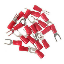 20 Red Insulated Fork Spade Wire Connector Electrical Crimp Terminal 18-22A B4Y0