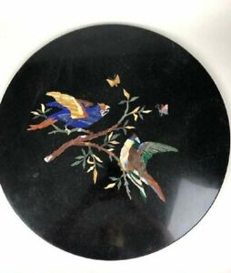 """18"""" Round black marble inlay Table Top inlay pietradura art with wooden stand"""