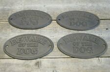 4 Beware Of The Dog Signs Rustic Wall Decor Fence Kennel Sign Cast Iron Warning
