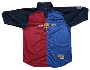 VINTAGE NIKE FC BARCELONA 100TH ANNIVERSARY SOCCER JERSEY 1899-1999 LARGE