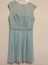 Karen Millen Size 14 Green Pintuck Pleated Sweetheart Bodice Chiffon Yoke Dress