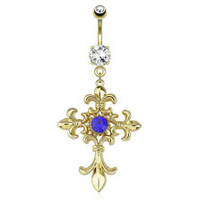 Gold Plated Surgical Steel Dangle Belly Bar With Blue CZ Fleur De Lis Cross