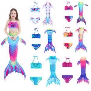 3PCS Girls Swimsuit Mermaid Tail Swimwear Bikini Set Costume Swimming Cosplay