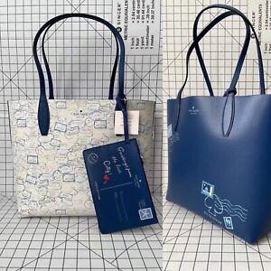 Kate Spade Large Reversible Tote WKR00377 Off the Grid Shoulder Bag Blue Multi