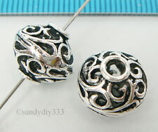 1x BALI STERLING SILVER BICONE ROUND FOCAL FLOWER SPACER BEAD 11mm #2168