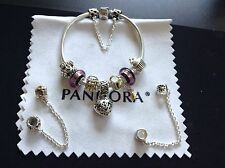 Authentic Pandora BRACELET Mixed Metals Charms Murano Glass beads