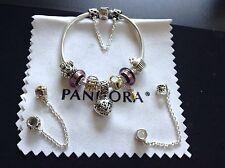 Authentic Pandora BRACELET Mixed Metals Charms Murano Glass beads