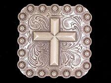"""Western Equestrian Decor Antique Silver Cross 1"""" Square Concho"""