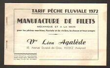 """RODEZ (12) USINE de FILET DE PECHE FLUVIALE """"Vve Léon AGALEDE"""" , CATALOGUE 1972"""