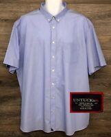 UNTUCKit Men's Wrinkle-Free Light Blue Short Sleeve Button Down Shirt 3XL Tall
