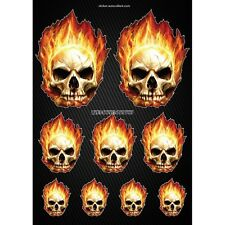 Stickers autocollants Moto casque réservoir Skull Flames  Format A4 2506