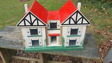 Vintage Handmade double peak roof line wood dollhouse adorable