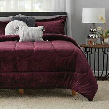 Velvet Comforter and Sheet Set Queen Size 10 Piece Burgundy Soft Plush Luxury