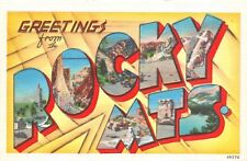 B7951 Greetings from the Rocky Mts. - Large Letter Linen Postcard Metropolitan