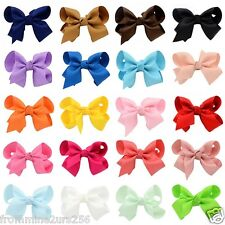 Lot of 20 Boutique Ribbon Hair Bows w/Clips Baby Toddler Girls 3 Inch Bows