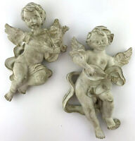 MCM Bisque Chalkware Wall Cherub Angels playing Violin Mandolin White Gold