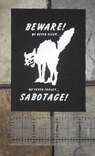Class War Sabotage Cat Punk Patch Human Liberation Rights Political Anarchy
