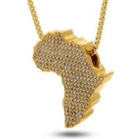 "Men's Iced African Map Pendant 20"" / 24"" Miami Cuban Chain Necklace MCP 1126 G"