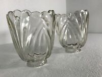 Scallop Crystal Glass Light Shade Leaded Clear Ribbed Shades Ruffle Vintage