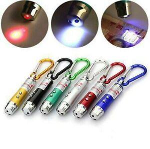 Laserpointer Mini LED Schlüssel Anhänger Licht Lampe UV Spielzeug Katze DE