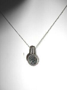 "Minimalist 1/6Ct Blue & Black Diamond Pendant  925 Sterling Silver 18"" Necklace"