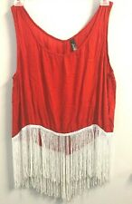 JADE Red Tank Top w/White Fringe size Medium OPEN BACK Med M Crop Shirt COSTUME