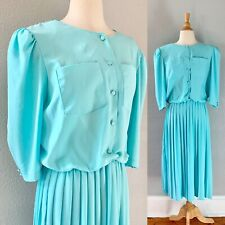 Vintage 80s doe 40s Aqua Blue Semi Sheer Accordion Pleat Secretary Shirt Dress L