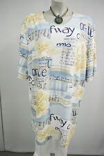 ISIS Fashion Damen long Stretch Tunika Shirt 52 XXL Lagenlook Textmuster Viscose