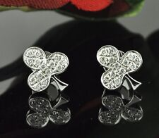14k Solid White Gold Natural  Diamond earring 0.25 ct made in USA  POKER